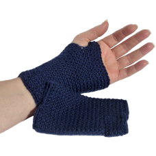 Fingerless Mittens - Navy Blue
