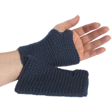 Fingerless Mittens - Blue Denim